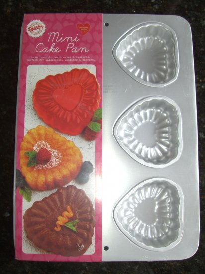 SOLD! NEW Wilton MINI Cake Pan EMBOSSED HEART/ HEARTS # 2105-8255   Still in shrink wrap!