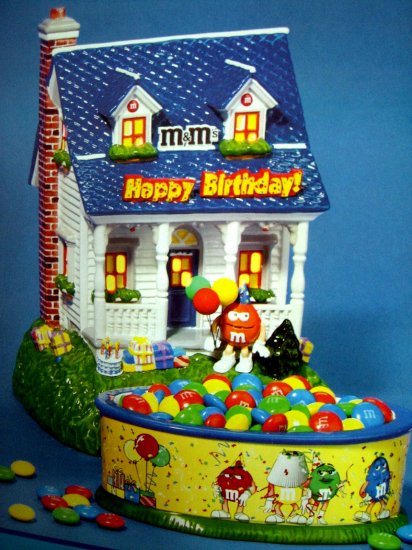 SOLD! Dept 56 M&M's HAPPY BIRTHDAY LIGHTED HOUSE & CANDY DISH NEW IN BOX MINT