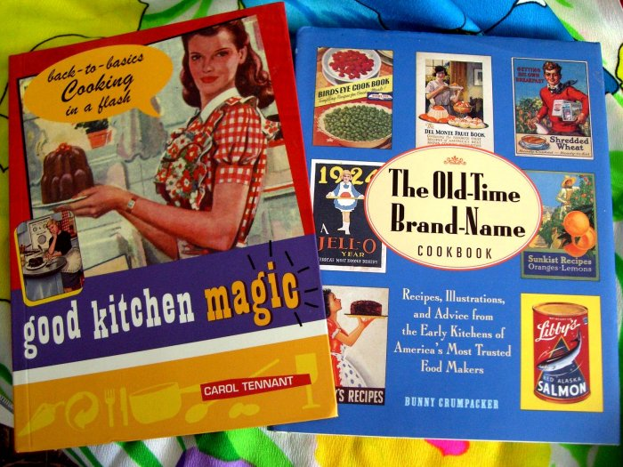 SOLD! LOT 2 Fun Retro Style Cookbooks: GOOD KITCHEN MAGIC and OLD TIME BRAND-NAME COOKBOOK