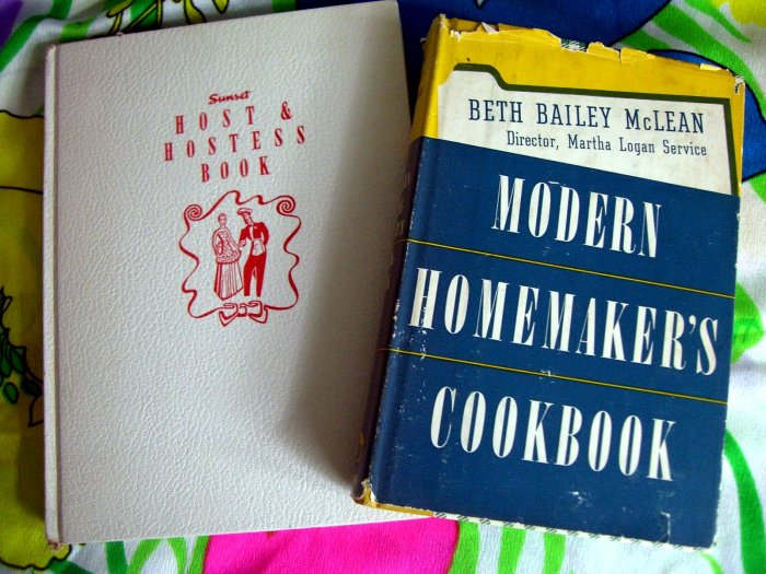 SOLD! On sale! Vintage Cookbooks 1950's~~ Sunset Host & Hostess + Modern Homemaker Cookbook Recipes