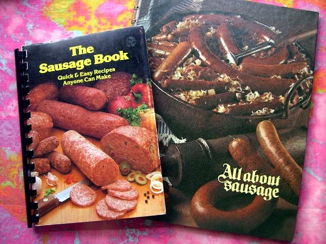 SOLD! LOT 2 ALL ABOUT SAUSAGE COOKBOOK + SAUSAGE RECIPE BOOK 1973 & 1979