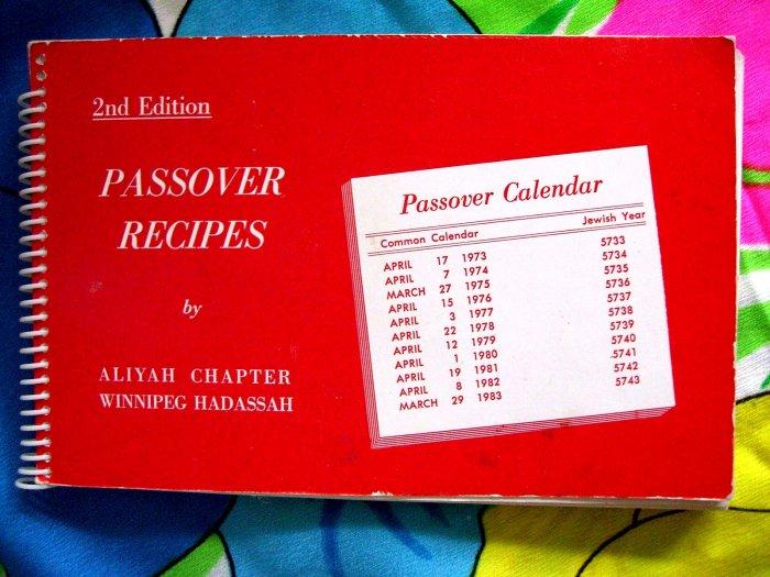 SOLD! Passover Recipes Jewish Cookbook 1973 Winnipeg Canada Hadassah