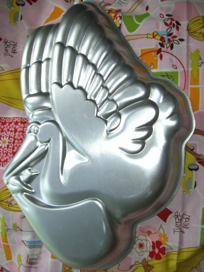 sold vintage wilton cake pan baby shower stork 1983 502 385 good