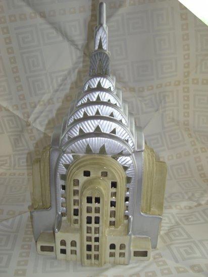SOLD! NYC CHRYSLER BUILDING Ceramic COOKIE JAR DECO MANHATTAN RARE!
