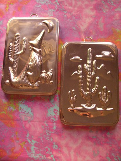 SOLD! LOT 2 COPPER MOLD TIN LINED CACTUS COYOTE WALL SOUTHWESTERN  TX AZ NM