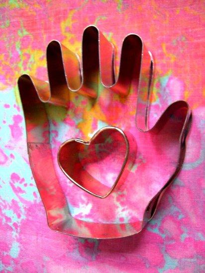 "SOLD! Copper Cookie Cutter /Cutters ""Heart in Hand"""