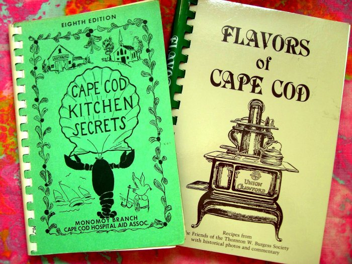 Vintage Cap Cod Kitchen Secrets Cookbook & 1987 Flavors of Cape Cod Recipes MA Mass