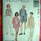McCall's # 8163 Misses Pattern ~  Shirt Jacket Vest Shorts, Skirt. Pull-on Pants ~ Size 8 10 12
