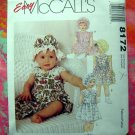 Easy McCall's Pattern #8172 UNCUT  Infant or Toddler Dress Bloomers & Hat