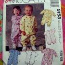 McCall's Pattern # 5153 UNCUT Jumpsuits & Romper Size Newborn - Large