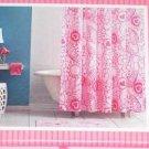 NEW NIP HEARTS & FLOWERS PINK Fabric Shower Curtain