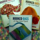 LOT 3 Crochet Project Book Hooked Scarves / Hats / Bags Pattern Instruction Book by Margaret Hubert