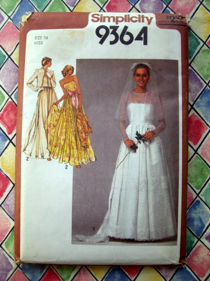 SOLD! Vintage 1980 Simplicity Pattern # 9364  Bridal / Wedding Dress prom Gown or Bridesmaid Dresses