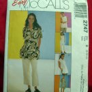 McCalls Easy Pattern #2747 UNCUT Misses UNCUT Misses/Misses Petite Shirt, Top, Pants, Size 8 10 12