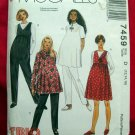 McCalls Easy Pattern #7459 UNCUT Maternity Dress Pants Jumper Top Size 12 14 16