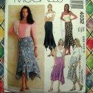 McCalls Pattern # 4032 UNCUT Misses Asymmetrical Handkerchief Hemline Skirt Size 4 6 8 10
