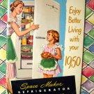 Vintage 1950 General Electric Space Maker Refrigerator Booklet Advertising