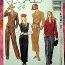 McCalls Pattern # 6751 UNCUT Misses Unlined Jacket Vest Skirt Pants Size 16 18 20