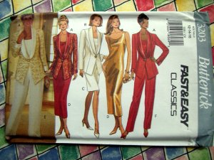 Butterick Pattern # 3203 UNCUT Misses Jacket, Dress, Top and Pants Size 12 14 16