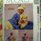 McCalls's Pattern # 3890 UNCUT Infant (Baby) Polar Fleece Jumpsuit Blanket Hat Size Small Med Lg XL