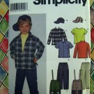 Simplicity Pattern # 7036 UNCUT Toddler / Boys Pants Hat Cap Suspenders Shirt Top 3 4 5 6