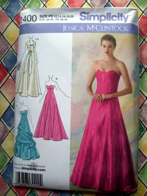 Simplicity Pattern UNCUT # 2400 Misses Strapless Prom Dress or ...