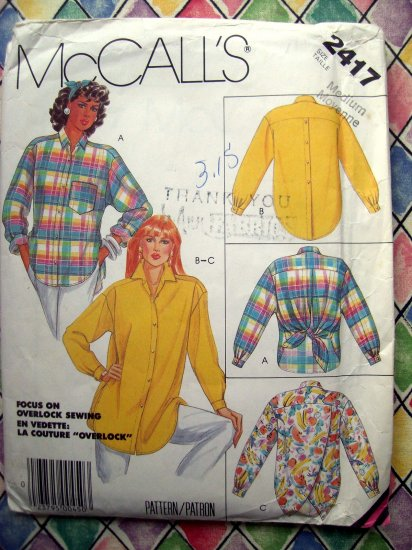 SOLD! McCall's Pattern # 2417 UNCUT Misses Loose Fitting Blouse /Shirt  Size 14 16