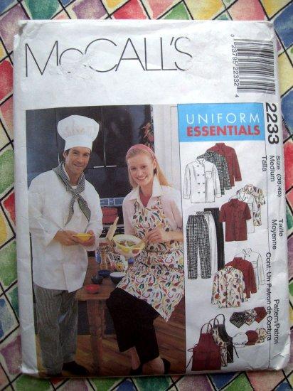 McCalls Pattern # 2233 UNCUT Chef /Cook Uniform Hat Apron ~ Size Medium Adult