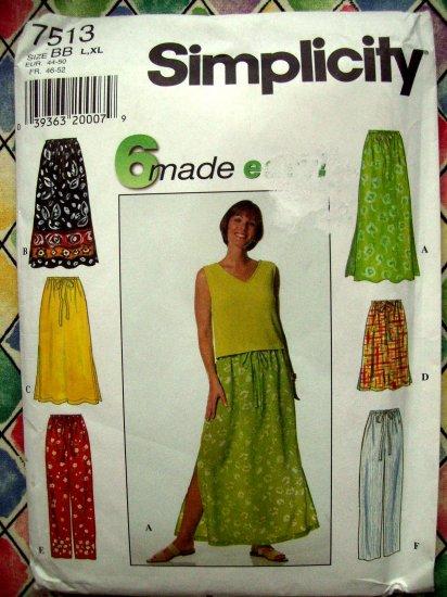 Simplicity Pattern #7513 UNCUT Misses Skirt Pants Size Large XL