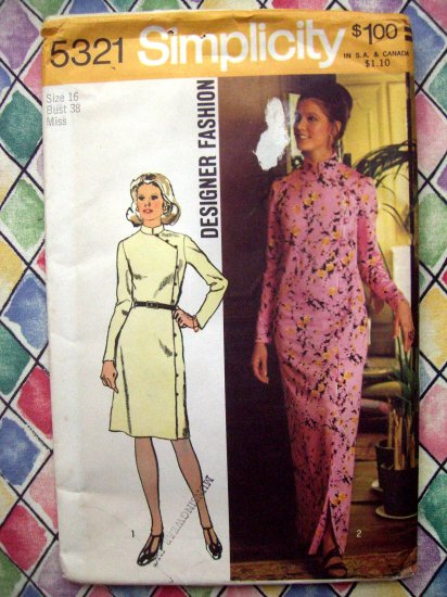 Simplicity Pattern # 5321 UNCUT Misses' Dress In Two Lengths Mandarin Collar ©1972 Size 16