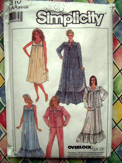 SOLD!  Simplicity Pattern # 8310 UNCUT Misses Nightgown Robe Bed Jacket & Pajamas Size XS S M L XL