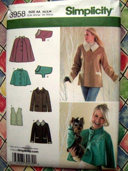 SOLD! Simplicity Pattern # 3958 UNCUT Misses Jacket Capelet Two Lengths Vest Size XS S M + Dog Coat