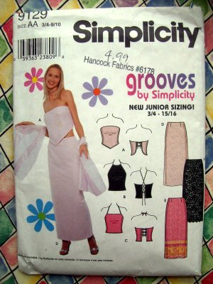 Simplicity Pattern # 9129 UNCUT Junior Long Skirt Knit Halter Top Size 3/4 5/6 7/8 9/10
