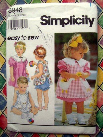 HOLD! Simplicity Pattern #8948 UNCUT Toddler Dress Reversible Pinafore or Top Panties Sizes