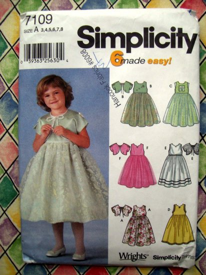 Simplicity Pattern #7109 UNCUT Girls /Child Formal Dress Jacket Size 3 4 5 6 7 8