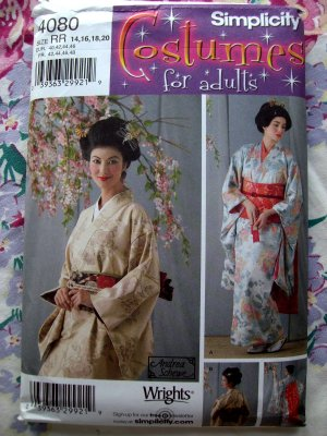 Simplicity Costume Pattern UNCUT # 4080 Womens Japanese Kimono Size 14 16 18 20