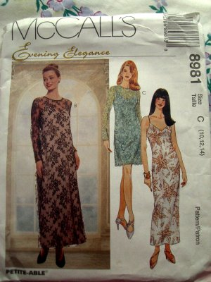McCalls Pattern # 8981 UNCUT Misses Special Occasion Dress / Gown Size 10 12 14