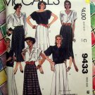 McCall's Pattern # 9433 Misses Pleated Skirts Size 12  Waist 26 1/2