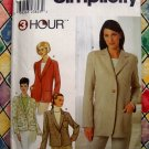 Simplicity Pattern # 9138 UNCUT Misses Long Sleeve Notched Collar Jacket Size 6 8 10 12