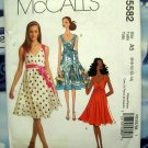 McCalls Pattern # 5582 UNCUT Misses Summer Empire Dress Belt Size 6 8 10 12 14