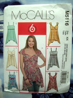 McCalls Pattern # 5116 UNCUT Womans Plus Top Size 26 28 30 32