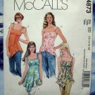 McCalls Pattern # 4873 UNCUT Misses Summer Blouse Top Size 12 14 16 18