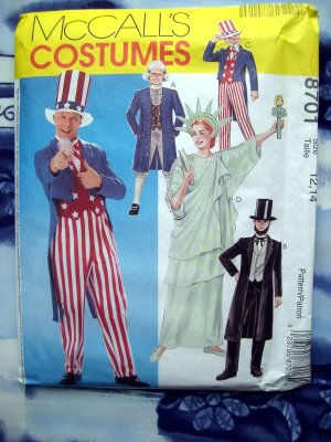 McCalls Pattern # 6143 UNCUT Kids Costume Size 12 14 Uncle Sam Lincoln Patriot Statue Liberty