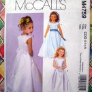 McCalls Pattern # 4759 UNCUT Child Girls Special Occasion Long Dress Size 2 3 4 5