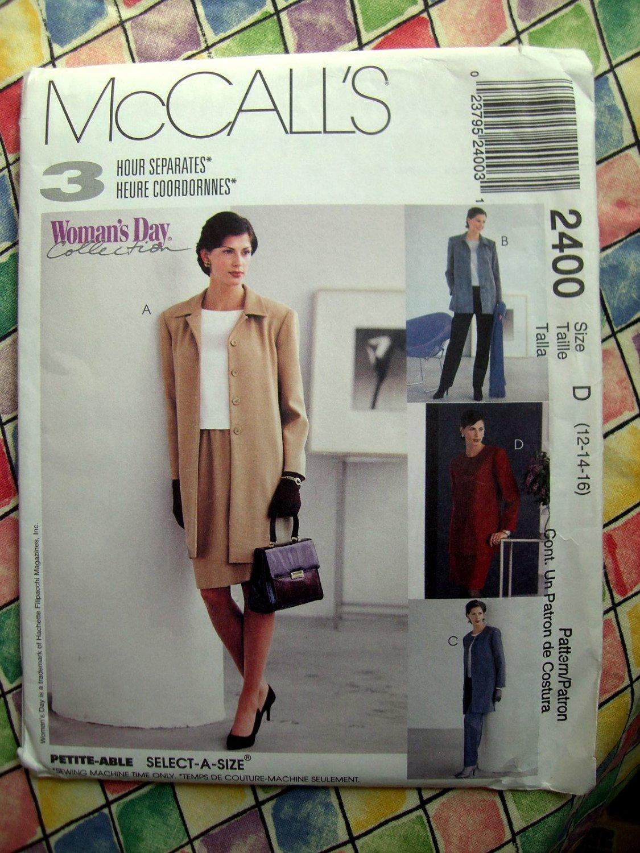 McCalls Pattern # 2400 UNCUT Misses Unlined Jacket Pants Skirts Size 12 14 16