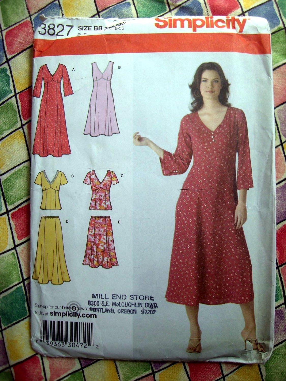 Simplicity Pattern # 3827 UNCUT Misses Womans Dress Top Skirt Size 20 22 24 26 28