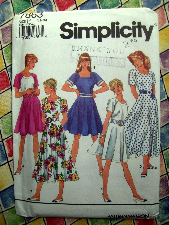 Simplicity Pattern # 7863 UNCUT Misses Circle Dress Variations Size 12 14 16