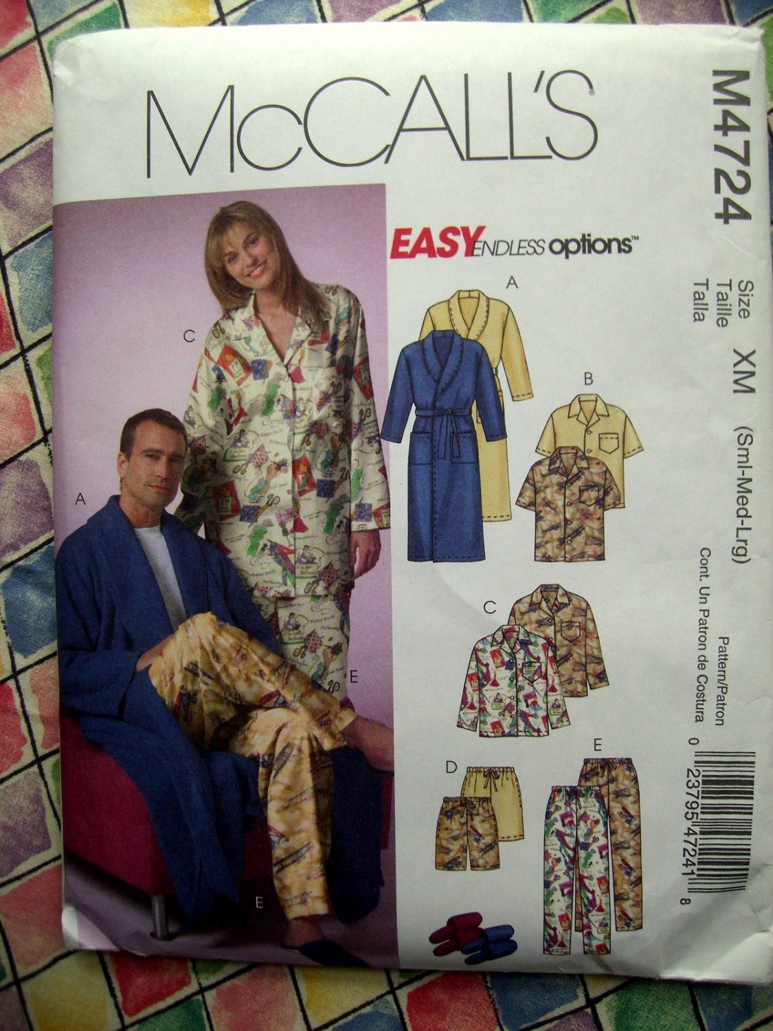 SOLD! McCalls Pattern # 4724 Misses/Mens Unisex Pajamas Bathrobe Size Small Medium Large