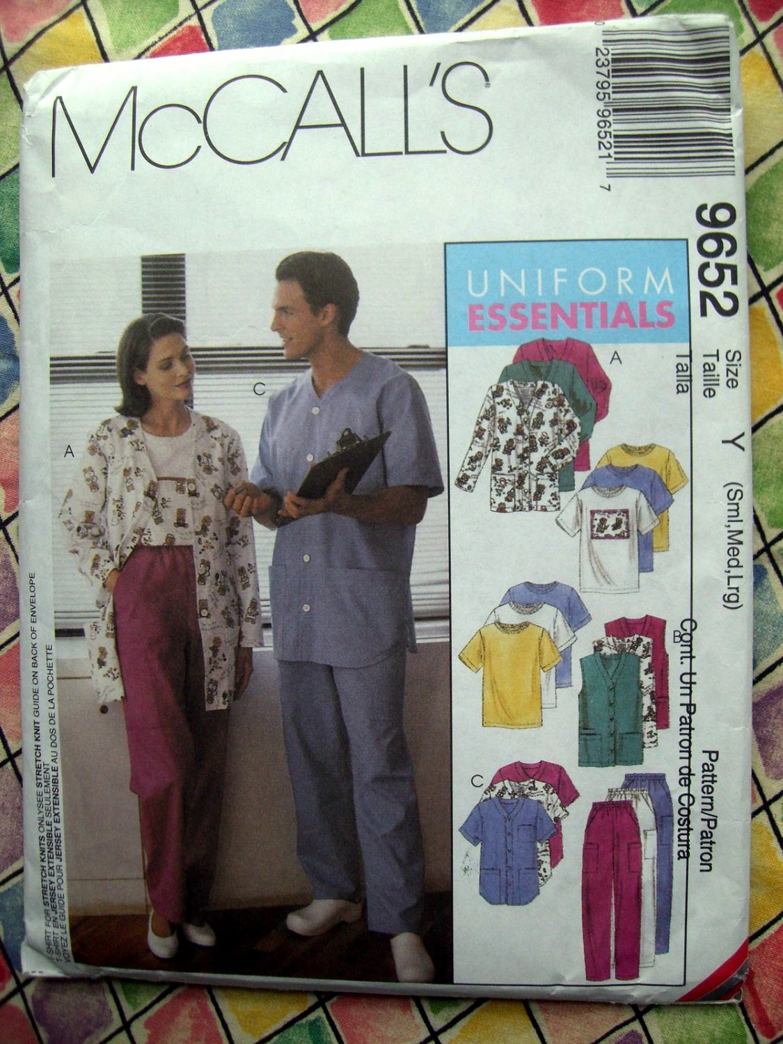 SOLD! McCalls Pattern # 9652 UNCUT Misses Mens SCRUBS Uniform Pants Top Size Small Medium Large
