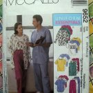 McCalls Pattern # 9652 UNCUT Misses Mens SCRUBS Uniform Pants Top Size Small Medium Large